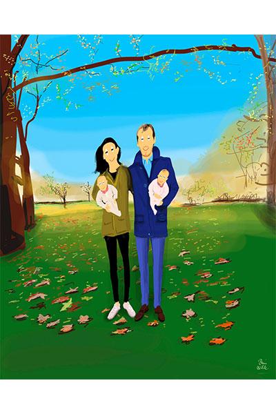 Retrato ilustrado personalizado Dani Wilde pareja gemelos