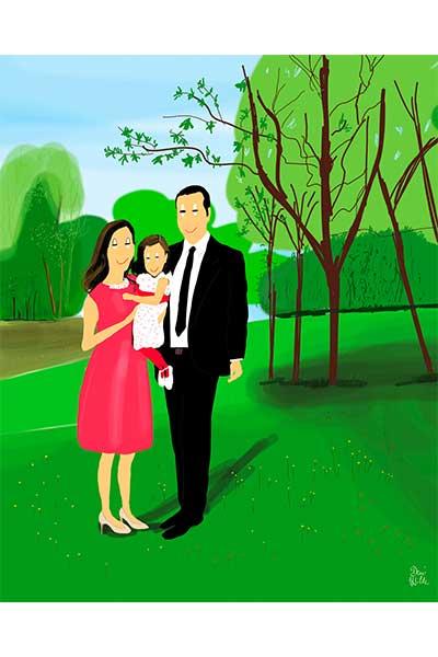 Retrato ilustrado personalizado Dani Wilde pareja hija