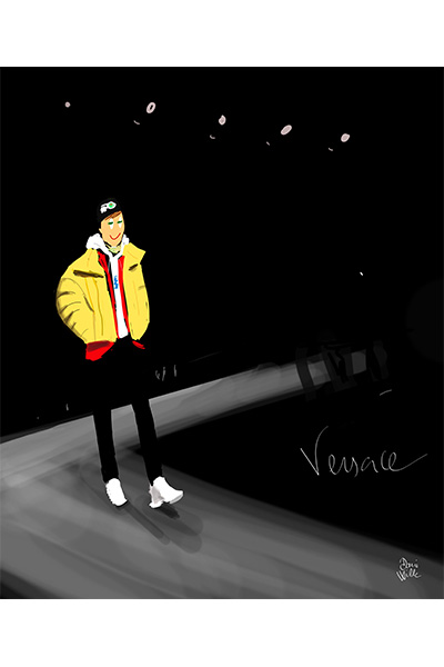 ilustración Dani Wilde desfile Versace Man