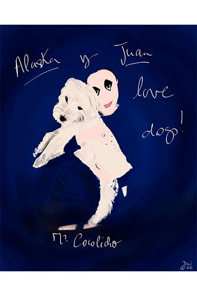 retrato ilustrado Alaska con perro