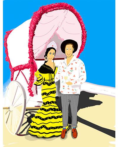Retrato ilustrado personalizado Dani Wilde pareja feria sevilla