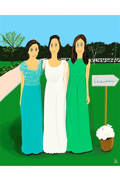 Retrato ilustrado personalizado Dani Wilde boda