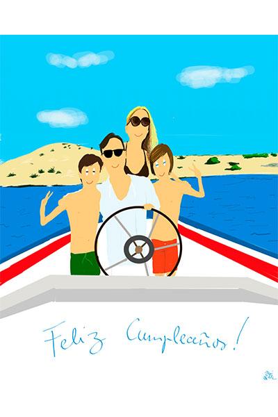 Retrato ilustrado personalizado Dani Wilde familia barco