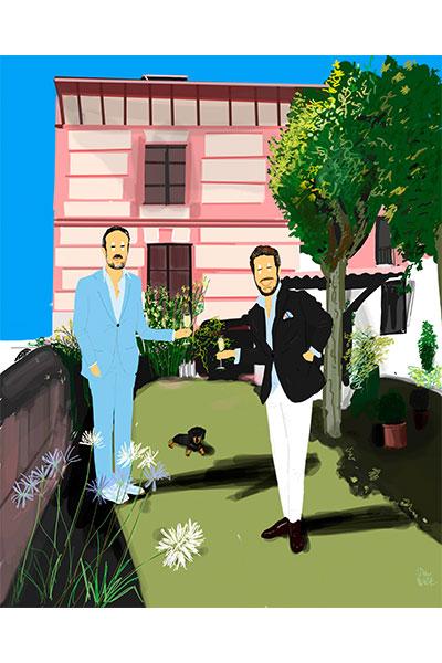 Retrato ilustrado personalizado Dani Wilde pareja hombres delante de su casa