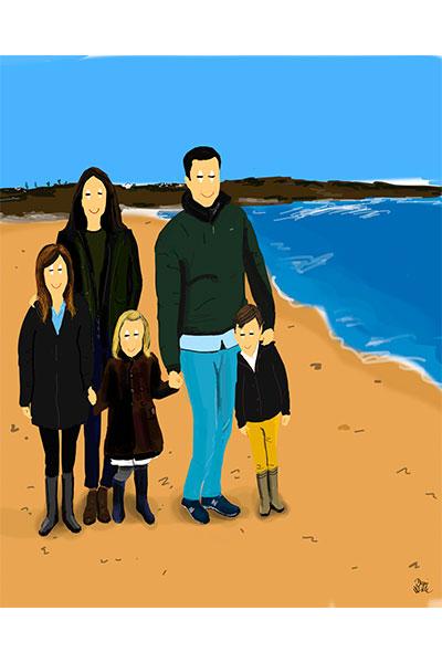 Retrato ilustrado personalizado Dani Wilde familia niños