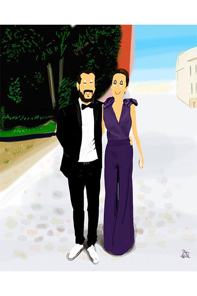 Retrato ilustrado personalizado Dani Wilde pareja