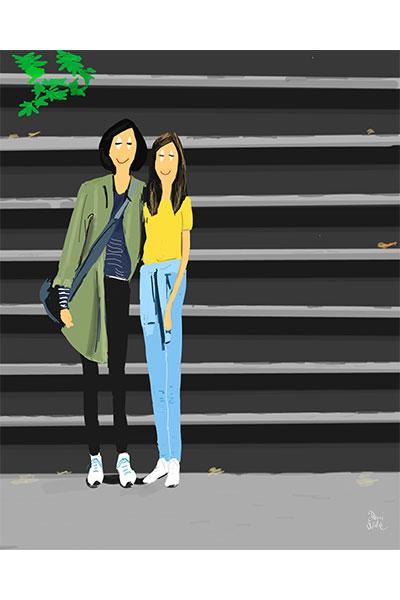 Retrato ilustrado personalizado Dani Wilde madre y su hija en NY