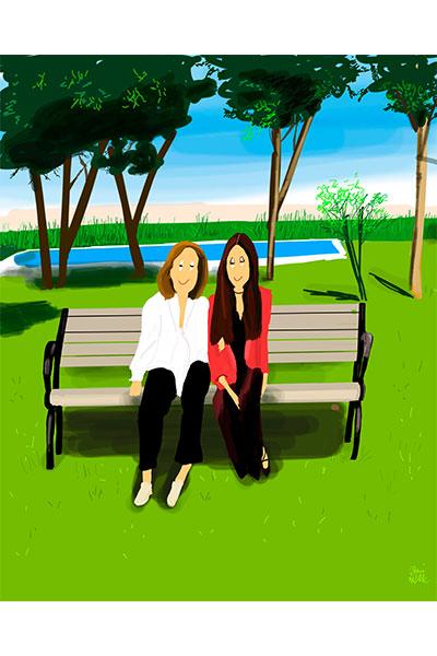 Retrato ilustrado personalizado Dani Wilde madre e hija parque