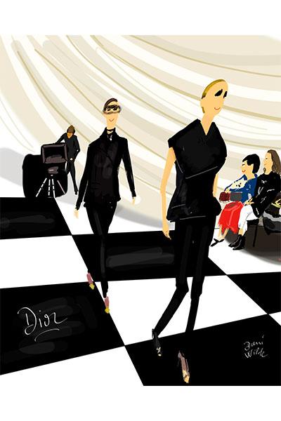ilustración moda Dani Wilde desfile Dior Paris