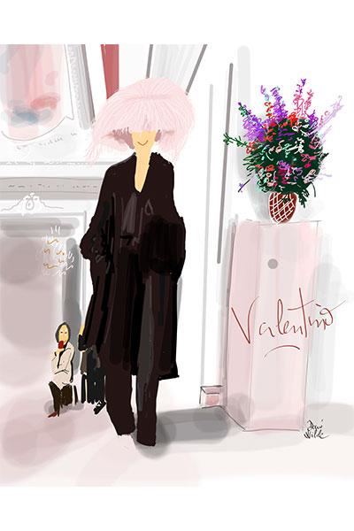ilustración Dani Wilde desfile Valentino