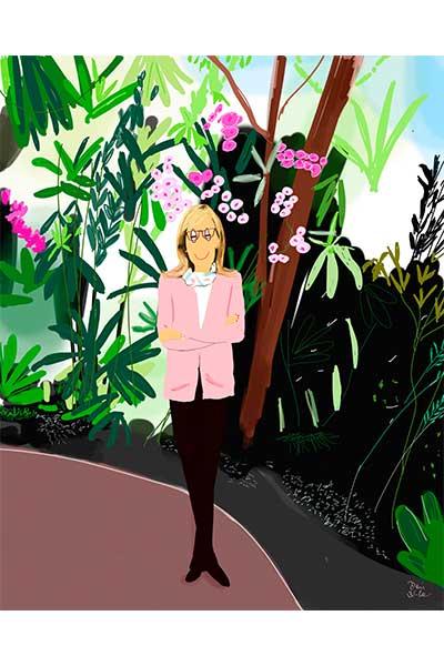 Retrato ilustrado personalizado Dani Wilde mujer sola