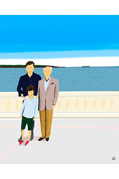 Retrato ilustrado personalizado Dani Wilde padre hijo abuelo