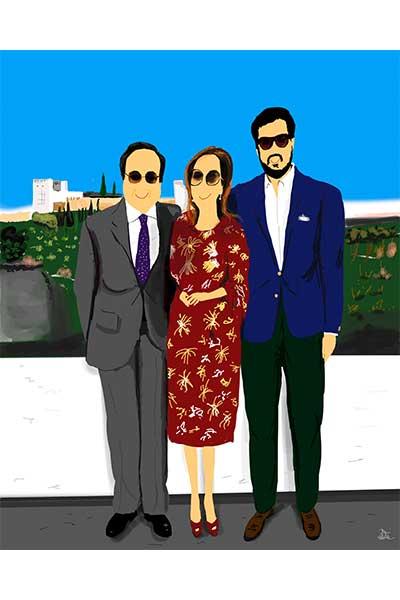 Retrato ilustrado personalizado Dani Wilde mujer marido hijo