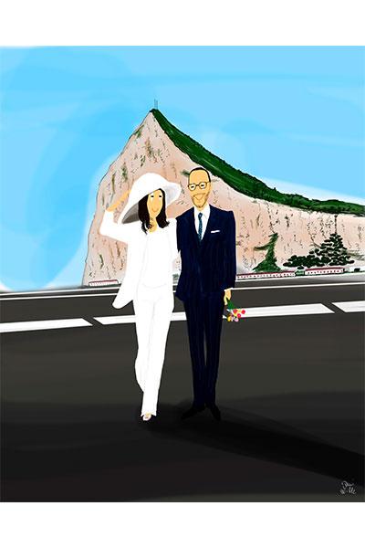 Retrato ilustrado personalizado Dani Wilde pareja boda