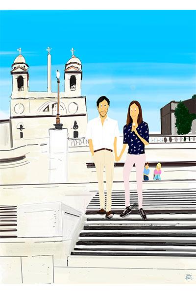 Retrato ilustrado personalizado Dani Wilde pareja Roma