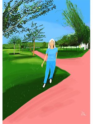 Retrato ilustrado personalizado Dani Wilde mujer campo