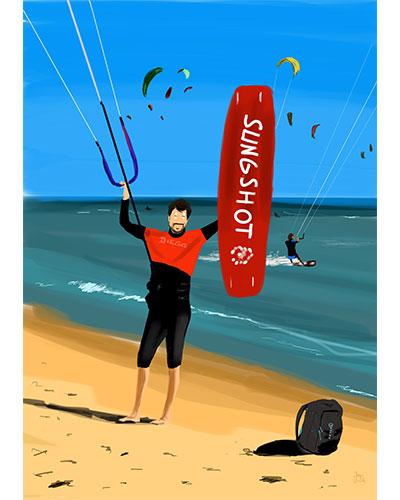 Retrato ilustrado personalizado Dani Wilde windsurf
