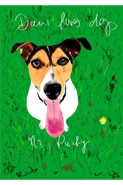 retrato de perro personalizado por Dani Wilde