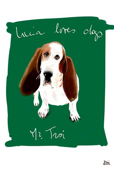 retrato de perro personalizado por Dani Wilde Basset
