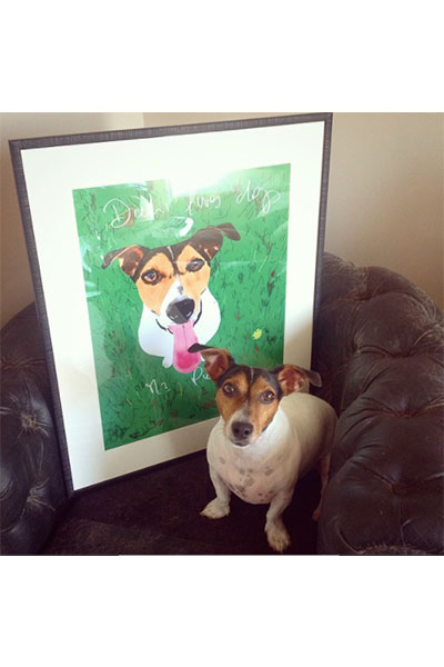 retrato de perro personalizado por Dani Wilde con cuadro 1