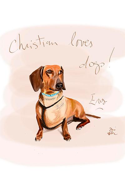 retrato de perro personalizado por Dani Wilde teckel