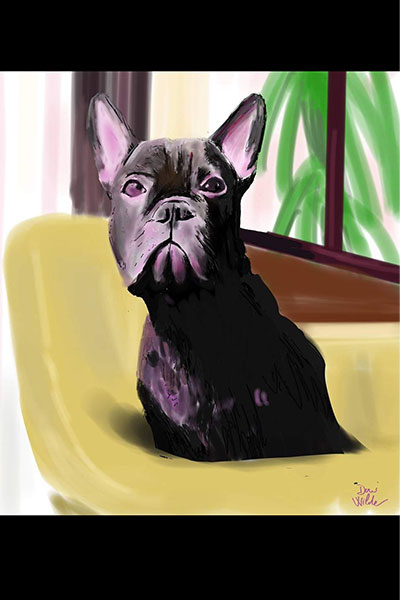 retrato de perro personalizado por Dani Wilde boulegog francés