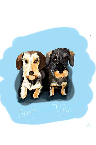 retrato de perro personalizado por Dani Wilde 2 teckels