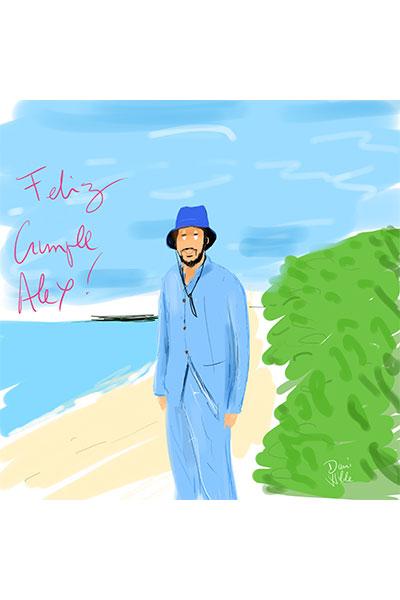 retrato cumpleaño Alex dibujo