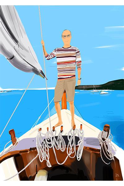 retrato ilustrado Mario barco