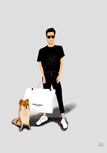 ilustracion retrato Adrian con su perro