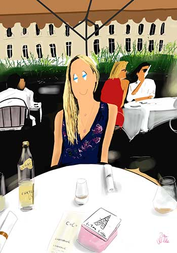 retrato ilustrado chica Paris cafe