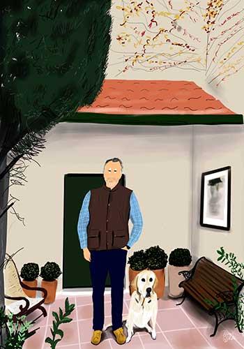 ilustración personalizada retrato de un hombre con su perrro