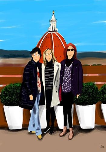 ilustración personalizada retrato de 3 amigas