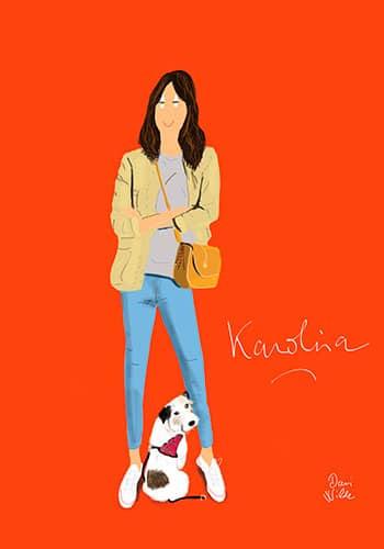 ilustración personalizada retrato chica con perro