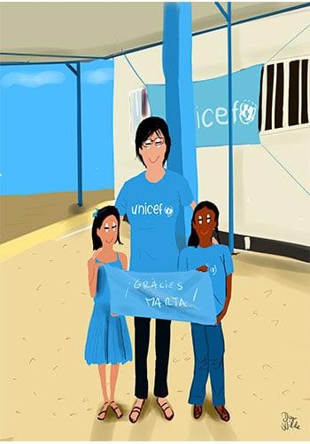 retrato ilustrado chica Unicef con niños