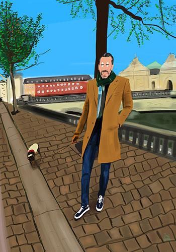 retrato ilustrado Dani Wilde de un chico con su perro