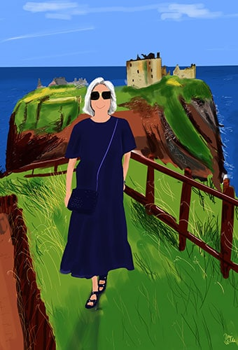 retrato ilustrado mujer en escocia