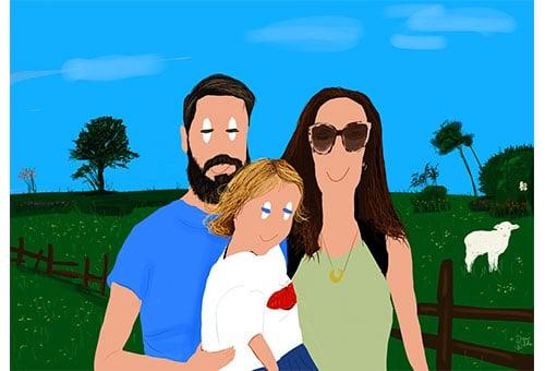 retrato ilustrado familia en el campo