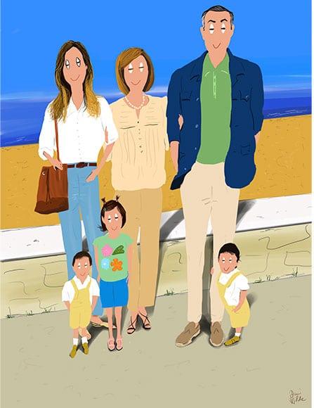 ilustración retrato de una familia