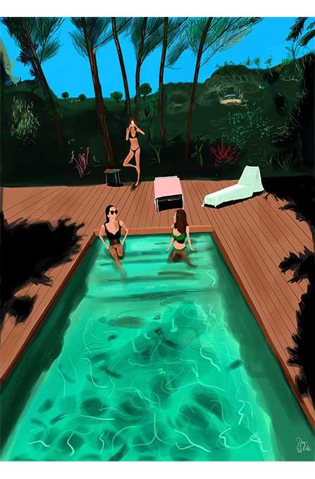 chicas en una piscina