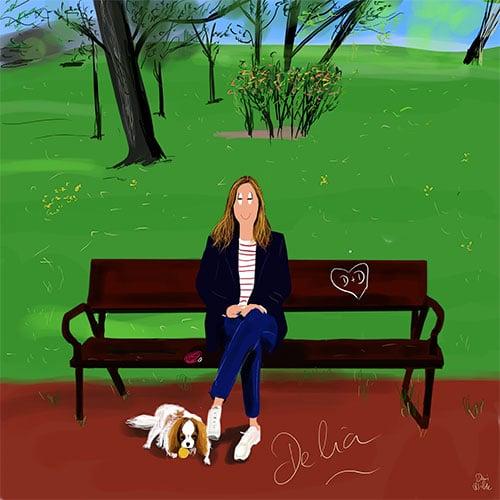 ilustración retrato chica con perro cavalier king