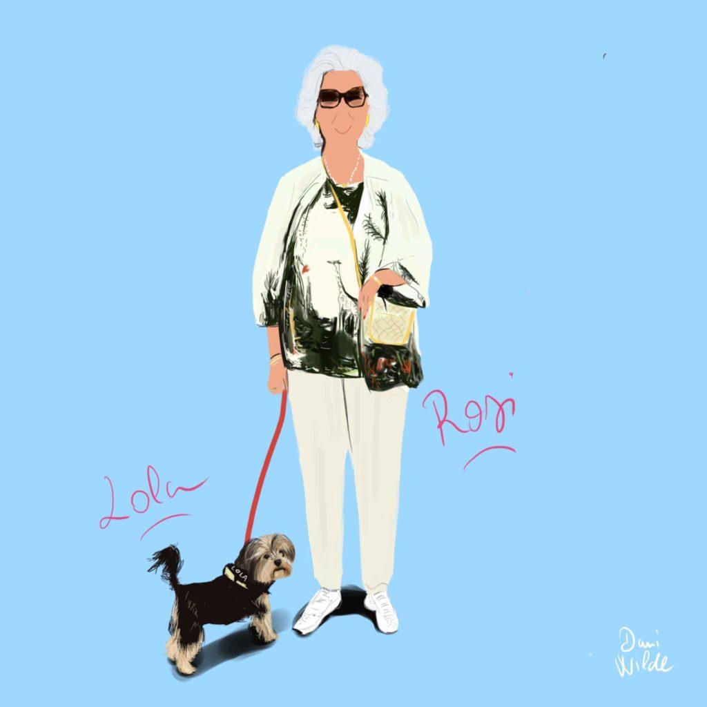 ilustración personalizada Rosi y su perrita